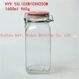 1200mlガラス正方形の記憶の瓶、ガラスふたが付いている密封の容器