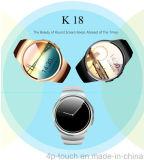 Montre intelligente d'écran rond neuf avec le moniteur du rythme cardiaque (K18)