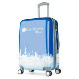 セットされた青く堅いプラスチックトロリーABS+PCスーツケースの荷物3部分の