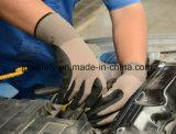 Gant de travail de coton et de Spandex avec le plongement de nitriles de Sandy (N1585)