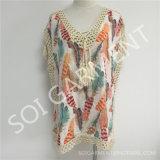 Sommer Casual Printing Blouse mit Tassel für Ladys (SOI1734)