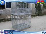 Jaula amontonable del acoplamiento de alambre de acero de la alta calidad/jaula del almacenaje (FLM-K-002)