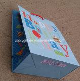 Bolsos de encargo del regalo de cumpleaños del brillo del bolso del papel de imprenta del feliz cumpleaños