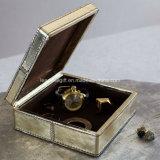 Caja de cuero metálica de la joyería del cuadrado del rectángulo de joyería