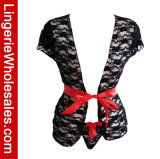 De Lingerie van de Robe van het Kant van sexy die Vrouwen met de Nachthemden van de Broeksband wordt geplaatst
