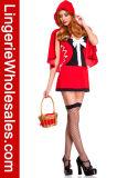 Сексуальные женщины причудливый платья шнуруют вверх красный Costume клобука Riding