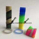 pipe en plastique de fumage en métal de concentré de pétrole de silicones de 20cm de pipe en verre pliable de conduite d'eau colorée