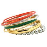 Серые серебр/золото шариков покрыли красный зеленый комплект браслета Bangles эмали