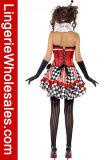 장난꾸러기 여자의 Checkered 끈이 없는 코르셋 보디스 복장 곡마 농담하는 사람 복장