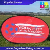 Напольный или крытый рекламируя полиэфир хлопает вверх индикация знамени
