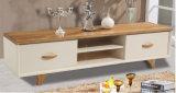Suporte de TV de madeira sólida moderno com caixa e rack de vinho