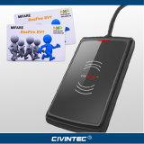 13.56MHz無接触のスマートカードの可聴周波ジャックNFCの読取装置著者サポートISO14443A/B MIFARE、DESFire EV1、MIFAREと