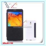 Couverture de téléphone portable de caisse de cuir de fenêtre de vue pour la note 3 N9005 N9002 de galaxie de Samsung