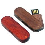 Mecanismo impulsor de madera del flash del USB del eslabón giratorio con insignias grabadas laser