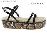Лета сандалии ботинок женщин платформа плоского вскользь крупноразмерная