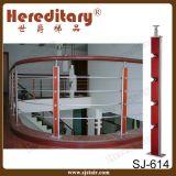 Balaustra di legno e dell'acciaio inossidabile in inferriata della scala (SJ-S307)