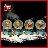 95mm Transparent Round Glass Ball Resin Base Snow Water Globe