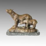 De dierlijke Kaars van het Beeldhouwwerk van het Brons draagt snijdend Standbeeld tpal-099 van het Messing Deco