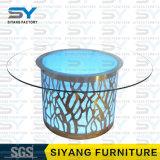 Tabella pranzante di vetro della Tabella esterna rotonda della mobilia dell'acciaio inossidabile