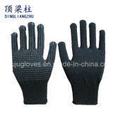 7 Anzeigeinstrument-schwarze Baumwolle gestrickte Sicherheits-Handschuhe mit Belüftung-Punkten