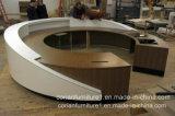 Mesa de recepção redonda de superfície contínua de madeira moderna do escritório de Corian