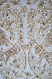 Stile all'ingrosso di modo della fabbrica bordato e tessuto del merletto della maglia del ricamo dei Sequins per l'indumento delle donne