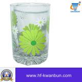 Позволенная жидкостью горячая подгонянная чашка выпивая стекла с украшением Kb-Hn0410 дома печатание этикеты