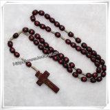 De Cross Knotted Bruine Ovale Houten Rozentuin van Jesus met Houten Kruis (iO-Cr067)