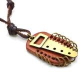 De de bruine Sleutel & Tegenhangers van de Mensen van de Halsband van het Leer Regelbaar in Goud
