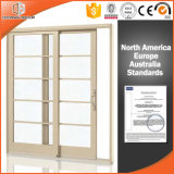 Решетка двойной стеклянной раздвижной двери скачками разделенная светлая, подъем & раздвижная дверь одетого термально пролома твердой древесины алюминиевый