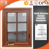 American Casement Window with Foldable Crank Handle Aluminum with Fluorocarbon Coating Clad Solid Oak Wood