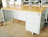 Métal moderne de meubles de bureau de 3 tiroirs et bureau en acier exécutif bon marché de panneau de forces de défense principale