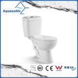 Tweedelig Dubbel Gelijk Ceramisch Toilet in Wit (ACT7302)