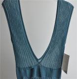 Larga sin mangas de Opean rayas chaqueta de punto para las damas