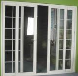 Puerta deslizante del PVC del color enselvado del impacto del huracán con el vidrio Tempered de la doble vidriera para el patio