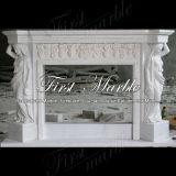 Cheminée blanche classique de sculpture de Carrare pour le matériau de construction Mfp-106