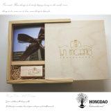 Hongdao modificó la caja de embalaje impresa del regalo para requisitos particulares de madera sólido de la foto para el _E del precio bajo de la boda