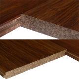 Handscraped T & G Carbonizado sólido hilo de bambú tejido de pisos