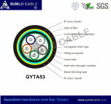 Gysta53/GYTA53 schwemmte aus optischen Fasernkabel, die direkte Beerdigung an, die, doppelte Hülle im Freien ist, gerunzelte das Stahlband