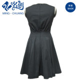 Black Zipper Back Closure Ladies Dress Round Collar