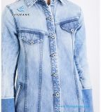 Longues robes de denim de jeans de femmes de chemises de collier