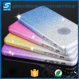 Papel ultra fino del polvo del flash del brillo del lujo + difícilmente caja transparente del teléfono celular del color TPU del gradiente de la PC para el iPhone 6plus