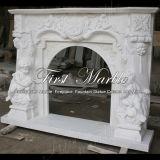 Camino di pietra bianco della scultura di Carrara per mobilia domestica Mfp-353