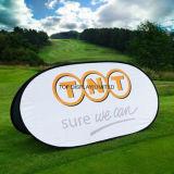 染料によってSublamtionはCustomedデザイン昇進イベントの表示を現れ楕円形のゴルフがぽんと鳴らす旗が印刷し印のスポーツ展覧会の表示を広告する