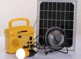 Sistema de iluminação solar do diodo emissor de luz com do carregador de rádio do USB de FM o jogador de cartão de controle remoto do SD