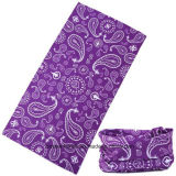 Promotionnel Custom Buff Seamless Style Polyester Purple Paisley Imprimé Bandana