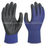 Gant bleu de travail de sûreté avec l'enduit de nitriles de mousse (N1570)