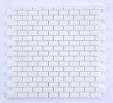 Weißer Marmor-Polierminiziegelstein-Mosaik-Fliese