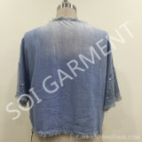 Neue Art-weiche Denim-Bluse mit Troddel und Sequin (BL-38)