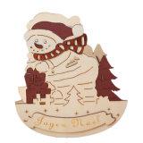 De houten Houder van de Kaars met Sneeuwman in Voorraad